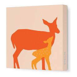 "Avalisa - Animal - Doe Stretched Wall Art, 18"" x 18"", Orange - Here's a sweet print for your little deer — or for yourself. It comes in your choice of color combinations and sizes. With this kind of color and fun on your walls, your friends are sure to fawn."