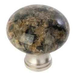 Q.M.I. - Round Knob in Tropical Brown (Set of 10) - Includes mounting screws. Decorative. Satin nickel accents. Easy to install. Limited lifetime warranty. Made from granite. 1.25 in. Dia. x 1 in. HAdd the finishing touches to your new vanity or cabinets or instantly update the look of your room with this hardware. Our cabinet knobs beautifully compliment any homes decor.