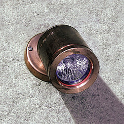 Hunza Lighting - Wall Spot Outdoor Sconce - Wall Spot Outdoor Wall Sconce has been designed to be mounted on walls and provide directional light for pathways and structural elements of a building. This fixture has a fully adjustable head allowing 360 degree rotation and 0-90 degree elevation. Features a clear, tempered, flush glass lens and high temperature silicon gaskets. Machined from aluminum with finish available in powder coated Black, Bronze, or White, or 316 Stainless Steel. Includes one 20 watt 12 volt GU5.3 MR16 halogen lamp. IP66 rated for wet locations. Requires low voltage transformer and WBAP wall box adapter plate required, sold separately.