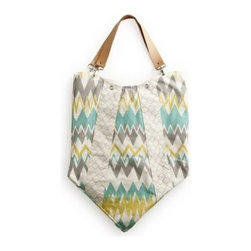 Rosanna - Zigzag Bag Yellow/teal By Rosanna - Perfect for everyday use, this printed bag is a unique combination of sophistication and whimsy. Zigzag pattern with geometric stripes, this versatile cotton canvas tote easily collapses for storage and travel. Purse features removable leather handles, a double -lined interior and an inside pocket. To clean, remove leather straps, wash alone in cold water and hang to dry.