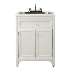 Martha Stewart Living - Martha Stewart Living™ Laundry Storage Utility Sink Cabinet - The expertly-crafted Martha Stewart Living™ Laundry Storage Utility Sink Cabinet is the ultimate in laundry storage for your bath or laundry room. Handle all of your laundry needs with one stylish unit. Includes adjustable shelf for custom storage options. Includes utility sink.
