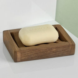 Teak Slotted Soap Dish - Nestle a bar of soap on this curved Teak Wood Slotted Soap Dish to prevent it from sliding around. Sitting flush on your counter, this slotted soap holder is great for preserving soap by drying it between uses.