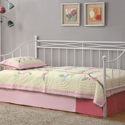 Coaster - Casual Twin Daybed with White Metal Frame - Casual Daybed manufactured by Coaster Co. has a white metal frame with a hint of country cottage appeal accented with vertical metal spindles and 4 posts. The daybed is available in Twin size.