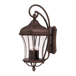 Savoy House - Realto Wall Mount Lantern - A strong Trisyn composite forms the foundation for a Walnut Patina finish with clear beveled glass. This flawless style offers an unparalleled value.