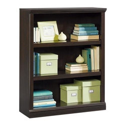 Sauder - 35 in. 3 Shelf Bookcase in Jamocha - Jamocha finish. 3 Shelves, 2 of which are adjustable. Patented slide-on moldings. Made of engineered wood. Assembly required. 35 in. W x 13 in. D x 44 in. H