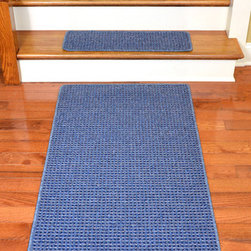 "Dean Flooring Company - Dean Washable Non-Skid Carpet Stair Treads - Michelle Blue (13) PLUS a 5' Runner - Washable Non-Skid Carpet Stair Treads - Michelle Blue (13) PLUS a Matching 5' Runner : Washable Non-Skid Carpet Stair Treads PLUS a Matching 5' Runner by Dean Flooring Company Color: Michelle Blue Face: 100% Polypropylene. Backing: Washable Non-Skid Latex Rubber. Edges: Finished (Serged) with Color Matching Yarn. Set includes 13 pieces PLUS a Matching 5' Runner. Each tread measures approximately 27"" x 9"". Wash on delicate in cold water, line dry. Also easy to spot clean and vacuum. Helps prevent slips on your hardwood stairs. Great for helping your dog easily navigate your slippery staircase. Reduces noise. Reduces wear and tear on your hardwood stairs. Attractive: adds a fresh new look to your staircase. Easy DIY installation with double sided carpet tape (not included). High quality enhanced textured loop patterned 21 oz. stain resistant carpeting. Add a touch of warmth and style to your home today with stair treads from Dean Flooring Company!"