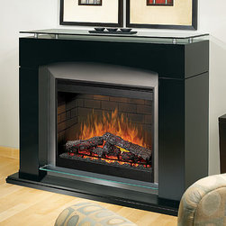 Dimplex - Laguna Black Contemporary Electric Fireplace - SOP-285-B - The contemporary Dimplex Laguna Black Electric Fireplace Mantel Package features black finish, metal, and glass to create a very modern, show stopping look. Hand finished artificial logs and unique glowing embers set the mood with realistic flames adjustable by speed and intensity. This model also features the Purifire air treatment system to remove allergens from the air even as heating functions are in use.The unit needs a 120v outlet to operate, but does not require any other ventilation or other traditional fireplace requirements.