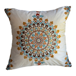 KH Window Fashions, Inc. - Exquisite Embroidered Medallion Pillow, Blue/Orange/Brown, 16x16, Without Insert - This exquisite embroidered medallion pillow belongs on any sofa or bed. The colors are so rich and vibrant.  The back of the pillow is made of a solid ivory coordinating fabric.