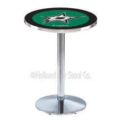 Holland Bar Stool - Holland Bar Stool L214 - Chrome Dallas Stars Pub Table - L214 - Chrome Dallas Stars Pub Table  belongs to NHL Collection by Holland Bar Stool Made for the ultimate sports fan, impress your buddies with this knockout from Holland Bar Stool. This L214 Dallas Stars table with round base provides a commercial quality piece to for your Man Cave. You can't find a higher quality logo table on the market. The plating grade steel used to build the frame ensures it will withstand the abuse of the rowdiest of friends for years to come. The structure is triple chrome plated to ensure a rich, sleek, long lasting finish. If you're finishing your bar or game room, do it right with a table from Holland Bar Stool.  Pub Table (1)