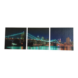 "NYC Night - Modern and trendy NYC skyline canvas art. Comes in 3 pieces. Each measuring 24""x24""."