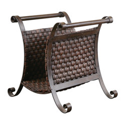 Uttermost - Brunella Dark Mocha Magazine Holder - When you're decor-obsessed, you obviously need somewhere fabulous to store your precious design magazines. This sassy magazine holder makes storage fun and decorative. Its scrolling, hand-forged metal and woven faux-leather basket prove that there's always more room for home decor.