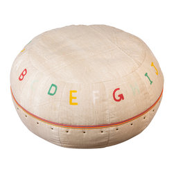 "My Two Designers - Kitab Pouf - Up the ""play room ante"" with the Kitab Pouf!  The Kitab is a fun piece of furniture, handmade for children; plus, it is so durable and original - constructed from recycled canvas!  Absolutely one of a kind!  Ready to withstand wear, each letter is painted by hand in happy hues then encircled with trim in tango tangerine with a cool accent of reflective metallic silver."