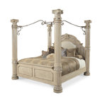 AICO - Monte Carlo II Silver Pearl Canopy Bed Collection by Aico, Queen - This majestic Poster Bed is outstanding among other beds and will grace your home with the supreme ambiance of classic taste. Can also be configured without the canopy and with low posts on the Headboard and Foot board.