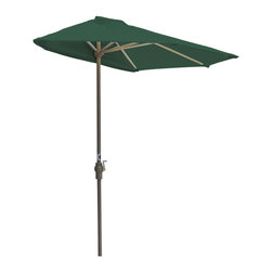 "Blue Star Group - OFF-THE-WALL BRELLA 9 Ft. Half Umbrella - Green - Olefin Fabric - What a great new idea!  OFF-THE-WALL BRELLA is a half-canopy patio umbrella that stands, without attachment, flush against a wall, window, sliding glass door or any vertical surface.  This decorative and portable faux-awning provides cooling shade and welcomed protection from the elements.  Now, homeowner's and condominium dwellers alike can open their drapes to enjoy the view and be sheltered from the hot sun or rain.  The Green canopy is made of Olefin Fabric fabric for long lasting durability and color.  The sturdy frame has a tough, powder coat, Champagne color finish and a hand crank for easy raising and lowering of the canopy.  Fully opened, the umbrella stands 99"" H x 106"" W x 54"" D.  When closed, the upper pole and canopy can be separated from the lower pole for compact storage."