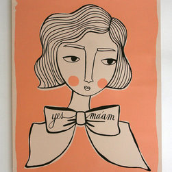 "Girl with Bow Poster by Hollandsworth - Pouty lips, a big bow tie, and perfectly waved hair. This tongue in cheek ""yes, ma'am"" print could make a lovely addition to my living room collage wall."