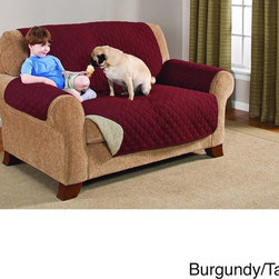 None - Suede Microfiber Reversible Quilted Loveseat Furniture Protector - Effortlessly protect your furniture from spills and debris with these quilted protectors. Perfect for households with pets or children,this furniture protector is reversible,machine washable,and comes in a variety of neutral hues.