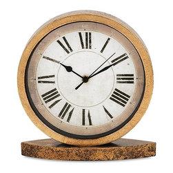 "Imax - Round Metal Desk Clock - *Dimensions: 10.5""h x 3.25""w x 9.75"""