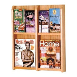 Wooden Mallet - Four Slot Brochure & Magazine Wall Mount Rack - Finish: Light OakMulti-function capability gives this versatile brochure & magazine rack a deserved spot in your store or office. Four spacious slots feature clear acrylic panels for unhindered visibility. Optional floor stand available, along with customized finish options. Uprights and clear acrylic pocket front panels. Pre-drilled with hardware included for simple wall mounting. Furniture quality construction with solid oak sides sealed in a durable state-of-the-art finish. Pictured in Light Oak. Optional floor stand not included. No assembly required. 2.875 in. D x 20.25 in. W x 23.875 in. H (12 lbs.). Floor Stand: 16 in. D x 2 in. W x 53 in. H (10 lbs.)Wooden Mallet's Oak & Acrylic Wall Displays will add warmth and class to your magazine and literature collection. Clear acrylic panels allow full view of literature while keeping it neat and organized. money