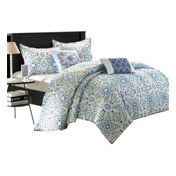 Chic Home - Essence Diamond Blue and Grey Queen 9 Piece Comforter Bed in a Bag Set - Essence is a mosaic style inspired Pattern, Modern style 5-piece REVERSIBLE Comforter Set offers a beautiful traditional design in peach skin microfiber fabric. The Reverse side offers a cool contemporary diamond design. Elegant decorative pillows highlight the essence of this bedding set. 4-piece white sheet set included.