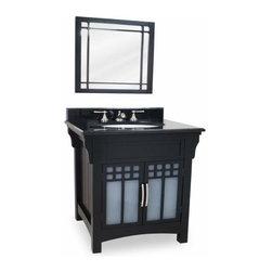 Lyn Design - Lyn Design Ming Modern 28 X 35 1/4 Black Vanity Preassembled Top/Bowl - Lyn Design Ming Modern 28 X 35 1/4 Black Vanity Preassembled Top/Bowl
