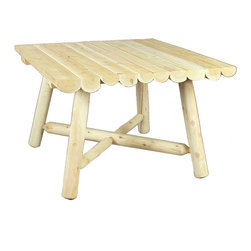 """Rustic Natural Cedar - Rustic Natural Cedar 200130 Square Dining Table 42"""" - 42'' log-style square dining table seats four comfortably. Sanded to an ultra-smooth finish and virtually maintenance-free. Solid cedar construction ensures years of lasting beauty."""