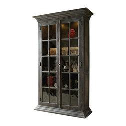 Silver Nest - Classic Display Cabinet - Dark Wood Trim with Glass Doors in a Classic Display Cabinet.