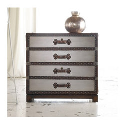 Hooker Furniture - Melange Bondurant Lateral File - Your files could have no more sophisticated place of storage than the Bondurant file cabinet in a faux zinc finish and leather trim.  Two locking file drawers with Pendaflex letter/legal filing system and wallpapered interior.