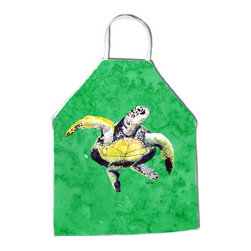 Caroline's Treasures - Turtle Dancing Apron - Apron, Bib Style, 27 in H x 31 in W; 100 percent  Ultra Spun Poly, White, braided nylon tie straps, sewn cloth neckband. These bib style aprons are not just for cooking - they are also great for cleaning, gardening, art projects, and other activities, too!