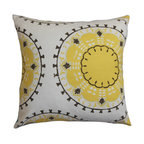 """The Pillow Collection - Edolie Geometric Pillow White Yellow 18"""" x 18"""" - Give your home an instant makeover by adding this cozy throw pillow. Decorate this accent piece to any part of your house like your living room, bedroom or lounge area. This 100% cotton-made square pillow features a unique geometric pattern in shades of black and yellow and set against a white background. This decor pillow with solids and other patterns for a fun and contemporary style. Hidden zipper closure for easy cover removal.  Knife edge finish on all four sides.  Reversible pillow with the same fabric on the back side.  Spot cleaning suggested."""