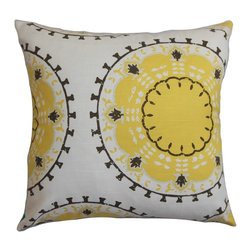 The Pillow Collection - Edolie Geometric Pillow White Yellow - Give your home an instant makeover by adding this cozy throw pillow. Decorate this accent piece to any part of your house like your living room, bedroom or lounge area. This 100% cotton-made square pillow features a unique geometric pattern in shades of black and yellow and set against a white background. This decor pillow with solids and other patterns for a fun and contemporary style. Hidden zipper closure for easy cover removal.  Knife edge finish on all four sides.  Reversible pillow with the same fabric on the back side.  Spot cleaning suggested.