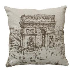 Arc de Triomphe (Ark of Triumph) Paris Hand Printed Linen Decorative Pillow - Pretty scene of the Arc de Triomphe in Paris handprinted on neutral linen decorative pillow.