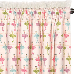 """Eastern Accents - Matilda Curtain Panel Set - Dress the room in luxury with a deluxe window treatment, crafted with excellence from the finest materials. Rows of sweet ballerinas dance across the Matlida curtain panel set in pink, blue and apple green. Curtains' top edges are trimmed in white lace and dotted with big silver glitter. These girly curtain panels are made from high quality drapery fabric and include a medium weight 100% cotton lining in ivory. Set of two curtain panels is available in three sizes. Professional cleaning recommended. Curtain panels measure 48""""W x 84""""L, 48""""W x 96""""L or 48""""W x 108""""L (available individually), Weighted corners and a 4"""" double hem help curtains maintain shape and fullness of fall, Blind stitched with hidden hems and seams, Includes seven drapery pins, Choose a medium weight 100% cotton flannel interlining or a 95% light exclusion blackout lining by custom order, Rod pockets fit up to 1.5"""" Diameter pole; custom curtain rod pocket widths or rings available by request. , Email shop@laylagrayce.com for custom ordering."""