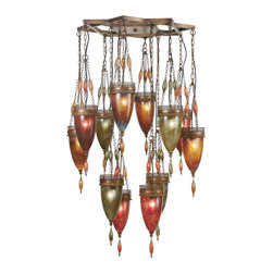 Fine Art Lamps - Scheherazade Green, Amber, and Red Glass Pendant, 718540-6ST - When it comes to mood lighting, there's nothing like the dreamy, mysterious glow of exotic lanterns. This chandelier indulges you with a whole cluster of them, dangling at various lengths on beaded chains from a hand-crafted bronze metal frame. The exquisite shades of handblown art glass provide a warm, sensual glow that will make you feel like an Arabian princess.