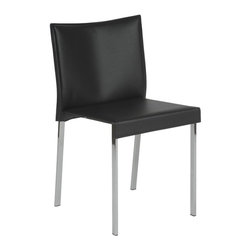 Euro Style - Riley Black Leather Side Chair - Set of 2 - Set of 2. Regenerated black leather seat and back. Chromed steel legs. 19.5 in. W x 18.5 in. D x 31 in. H (22 lbs.)Grand ideas for small spaces, the smooth and clean geometric shapes give your rooms a trendy, up-to-date look. The furniture design make your rooms stylish and sophisticated, symbolizing your self confidence.