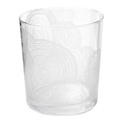 Kathy Kuo Home - Tree Rings Hollywood Regency White Short Rocks Glasses - Set of 6 - Stylish striations create an intriguing pattern, covering the classic shape of this crystal clear rocks glass. Reminiscent of organic tree rings, denoting the passage of time, the white details on this set of six glasses will bring elegance and ambiance, year after year.
