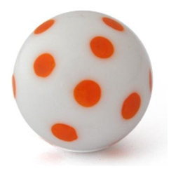 "Knobco - Polka Dotted Glass Knob, White knob with Orange Polka Dots - White knob with Orange Polka Dots glass knob. Unique glass knobs for your kitchen cabinets. 1"" in   diameter. Includes screws for installation."