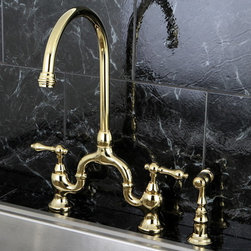 None - Vintage High-spout Polished Brass Bridge Kitchen Faucet with Side Sprayer - Enhance any kitchen design with this brass kitchen faucet. This high spout faucet pays tribute to the traditional style and will highlight your kitchen in a creative way.