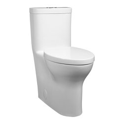 "Lyndon One Piece Right Height Elongated Dual Flush Toilet - Elongated bowl designVitreous china12"" (305mm) rough-inSiphon action jetted bowl with smooth-sided concealed trapwayHigh efficiency, dual flush, low consumption 1.28gpf/4.8Lpf conserving flush 1.0 gpf/3.8LpfEverClean® surface inhibits the growth of stain- and odor-causing bacteria, mold, and mildew on the surfaceFully glazedRim height at 16-1/2"" (419mm) for accessible applicationIncludes slow-close telescoping seat3"" Flush valveColored-matched bolt hole coversChrome activation button"