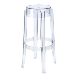 #N/A - The Ghost Bar Stool - The Ghost Bar Stool. The Ghost Bar Stool is made from transparent polycarbonate. This stool will provide a dAsh of lighthearted sophistication to kitchens, bars, game rooms and restaurants alike.