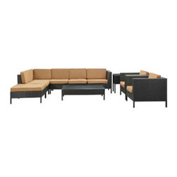 """LexMod - La Jolla 9 Piece Outdoor Patio Sectional Set in Espresso Mocha - La Jolla 9 Piece Outdoor Patio Sectional Set in Espresso Mocha - Shine with hidden brilliance with this powerful force of an outdoor living arrangements. Finely constructed espresso rattan seating sectionals with all-weather mocha fabric cushions give a sense of space and roominess that allow for true flexibility and comfort. Aim higher and give thanks and appreciation to picture perfect days spent outside. Set Includes: One - La Jolla Outdoor Wicker Patio Armless Chair One - La Jolla Outdoor Wicker Patio Coffee Table One - La Jolla Outdoor Wicker Patio Corner Section One - La Jolla Outdoor Wicker Patio Left Arm Section One - La Jolla Outdoor Wicker Patio Loveseat One - La Jolla Outdoor Wicker Patio Ottoman One - La Jolla Outdoor Wicker Patio Side Table Two - La Jolla Outdoor Wicker Patio Armchairs Synthetic Rattan Weave, Powder Coated Aluminum Frame, Water & UV Resistant, Machine Washable Cushion Covers, Easy To Clean Tempered Glass Top, Ships Pre-Assembled Overall Product Dimensions: 113""""L x 105""""W x 28""""H Left Arm Section Dimensions: 35""""L x 31""""W x 28""""H Corner Section Dimensions: 31""""L x 31""""W x 28""""H Armless Chair Dimensions: 28""""L x 31""""W x 28""""H Coffee Table Dimensions: 47""""L x 28""""W x 13""""H Side Table Dimensions: 18""""L x 18""""W x 24""""H Armchair Dimensions: 35""""L x 31""""W x 28""""H Loveseat Dimensions: 47""""L x 31""""W x 28""""H Ottoman Dimensions: 31""""L x 31""""W x 13""""H Armrest Dimensions: 3""""W x 14.5""""HBACKrest Height: 14.5""""H Cushion Thickness: 3""""H Seat Height: 13""""H - Mid Century Modern Furniture."""