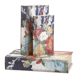 iMax - Reid Book Boxes, Set of 3 - Flowery language: Linen covers wrap a trio of book boxes of varying sizes covered in vintage blooms.