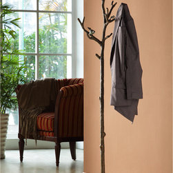 Lovebird Coat Rack - On first glance you'll think our captivating Lovebird Coat Rack is a beautiful work of art, but this cleverly multifunctional accent additionally provides a posh place to hold hats, coats, or even your dog leashes. A captivating cut above the average coat rack, branches adorned with bewitching birds and lifelike leaves elegantly descend into a sturdy base. The one-of-a-kind, organizational value is surpassed only by the artistic, natural appearance.