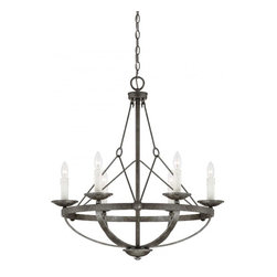 Joshua Marshal - Six Light Antique Nickle Up Chandelier - Six Light Antique Nickle Up Chandelier