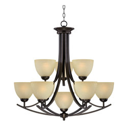 """Franklin Iron Works - Traditional Bronze 31 1/2"""" Wide 10-Light Entryway Chandelier - This ten light entryway chandelier offers an updated take on classic chandelier designs. It features a bronze finish with light glowing from within light amber glass. Install this light fixture in the foyer or entryway where it will graciously welcome you and your guests. Bronze finish. Light amber glass. Requires ten maximum 60 watt bulbs (not included). Includes 6 feet chain and 12 feet wire. 31 1/2"""" wide. 32"""" high. Canopy is 5"""" wide. Hang weight is 29 pounds.  Bronze finish.  Light amber glass.  Create drama with this large chandelier.  Takes ten maximum 60 watt bulbs (not included).  Includes 6 feet chain and 12 feet wire.  31 1/2"""" wide.  32"""" high.  Canopy is 5"""" wide.  Hang weight is 29 pounds."""