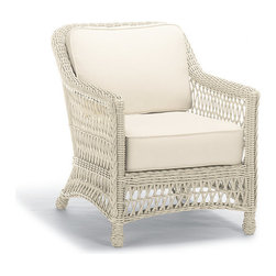 Frontgate - Hampton Outdoor Lounge Chair with Cushions in Off-White Finish - Handwoven premium ivory resin wicker. UV-protected, antimicrobial. Rust-resistant powdercoated frame. Cushions included. 100% solution-dyed and woven fabrics. Our Hampton Lounge Chair has a relaxed, southern attitude, intricately handwoven in weathered ivory resin wicker. Relax and unwind in thick, all-weather seat and back cushions. Smoothly woven tables are the perfect finish. Part of the Hampton Collection.  .  .  .  .  . All-weather cushions have a high-resiliency foam core wrapped in plush polyester .