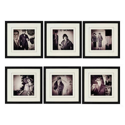 Paragon - Vintage Fashion PK/6 - Framed Art - Each product is custom made upon order so there might be small variations from the picture displayed. No two pieces are exactly alike.