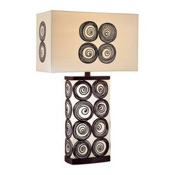 Ambience - Ambience AM 10122  Style Accent Table Lamp with 3-Way Switch, Finished in Black - Ambience AM 10122 Art Deco / Retro Style Accent Table Lamp with 3-Way Switch, Finished in Black and WhiteAmbience AM 10122 Features: