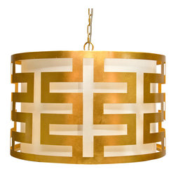 """Worlds Away - Worlds Away Hicks Gold Leaf Greek Key Pendant - The modern Worlds Away Hicks pendant exudes contemporary geometric allure. A glamorous gold leaf finish accents the round light fixture's compelling Greek key design. 24"""" Dia x 15""""H; Gold leaf; White interior shade; Includes canopy and chain; Accepts one 60W bulb (not included)"""