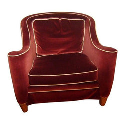 "Velvet Club Chair by Drexel Heritage - This chair is done in comfy down with a loose cushion back.   A classic Merlot velvet with vanilla linen welting. Chair is skirted and has a curved hi-back and wrap-a-round arms with decorative finish on legs. This chair is extra deep when back cushion is removed. Small marks on the rear seat fabric are almost hidden by back cushion or turning cushion.  Sofa and chair were manufactured by Drexel Heritage. Matching sofa available. Listed separately. Width of seat is 26"" inside the arms  Depth is 16"" with the back cushion sitting in the seat.  The full depth of the seat is 26"" with out the loose back cushion sitting in the seat."