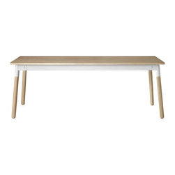 """Muuto - Adaptable Table - Stockholm-based architects Gabriella Gustafson and Mattias StÂhlbom were among the small group of designers invited to create public benches for the 2010 London Design Festival. The piece they created was similar to their Adaptable Table (2009) in that it drew upon traditional Nordic handicraft but with an updated twist. Working from their studio called TAF Architects, Gustafson and Stahlbom share a common goal: """"To make ordinary life less ordinary through subtle but effective changes in how products and architecture appear and function."""" Mixing materials is one of the cornerstones of Nordic design, and the Adaptable Table takes that tradition one step further by allowing you to mix materials as you wish. This is a table that adapts to your interior and taste, rather than the other way around. TAF's work has been exhibited at MoMA in New York and the Swedish National Museum in Stockholm."""